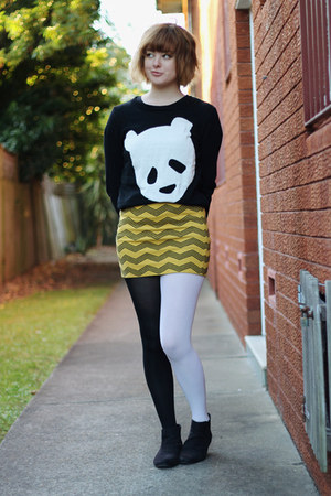 black asos boots - black panda face cichic sweater - mustard thrifted skirt
