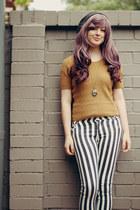 black striped Sheinside pants - dark gray beanie thrifted hat