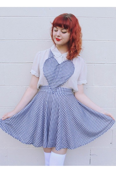 dark gray heart pinafore DIY dress - cream thrifted blouse