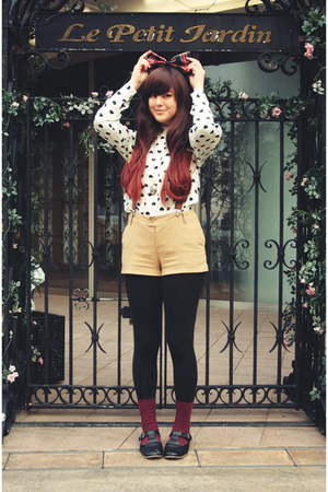 beige Present from Mum shorts - maroon vintage socks - ivory eFoxCity blouse