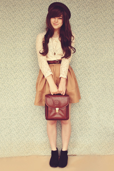brown vintage bag - black asos boots - dark brown OASAP hat - beige OASAP blouse