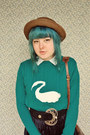 Turquoise-blue-swan-print-diy-sweater-brown-straw-bowler-wholesale-dress-hat