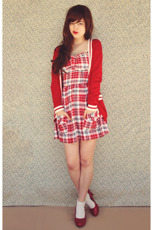 ruby red Ally dress - cream cotton on socks - red OASAP cardigan