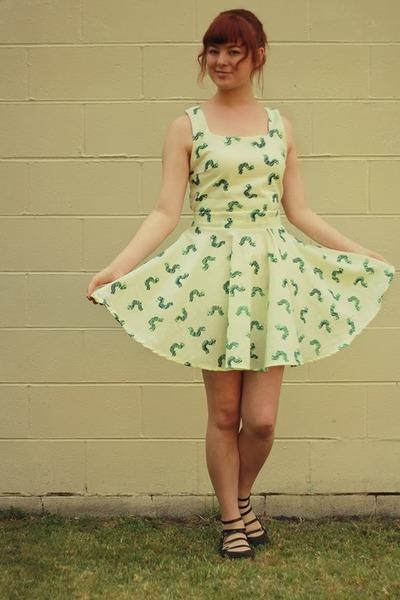 lime green DIY dress - black asos flats