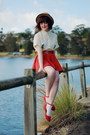 Beige-wholesale-hat-cream-sheinside-blouse-red-yeswalker-flats
