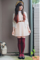 brown thrifted belt - black sammydress shoes - light pink Sheinside dress