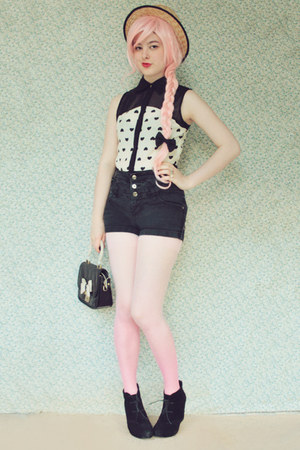 bubble gum ombre Choies tights - dark gray Rubi shoes boots