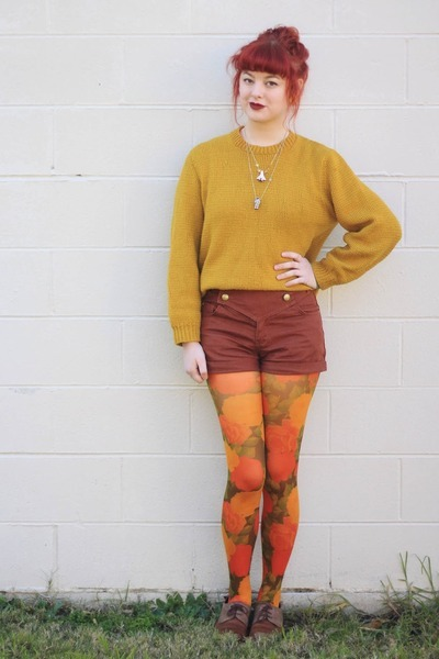 mustard thrifted sweater - brown NAOT shoes