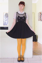 cream scalloped vintage blouse - black romwe dress - mustard Daiso tights