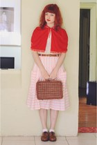 red vintage cape - bubble gum vintage skirt