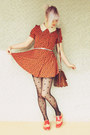 Carrot-orange-baking-soda-dress-black-polka-dot-wholesale-tights