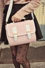 Cream-umbrella-print-wholesale-sweater-light-pink-satchel-wholesale-bag