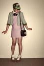 Light-pink-vintage-dress-lime-green-vintage-blazer-black-oasap-bag
