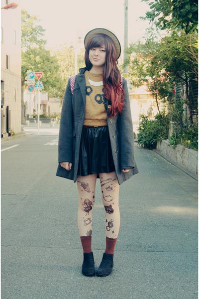 camel tokyo sweater - black asos boots - nude Ebay tights