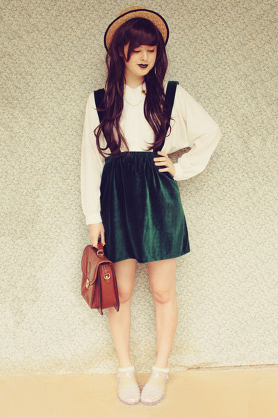dark green DIY skirt - beige wholesale hat - brown vintage bag