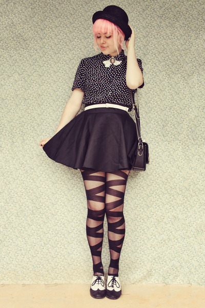 black lace up effect wholesale tights - black OASAP bag