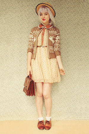 tan deer print markets cardigan - bronze OASAP dress