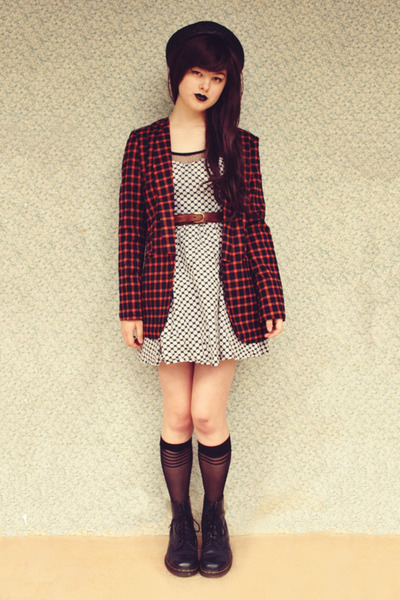 burnt orange checked Sheinside blazer - navy vintage dr martens boots