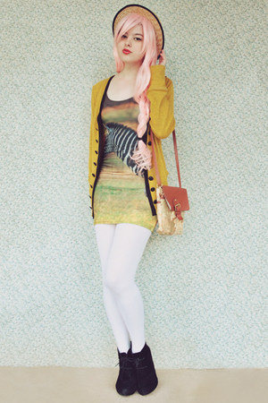 mustard modcloth cardigan - black suede lace up Rubi shoes boots