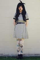 black Dotti boots - violet Dotti dress - white Chicwish stockings