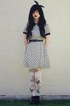 black Dotti boots - violet Dotti dress - white Chicwish stockings