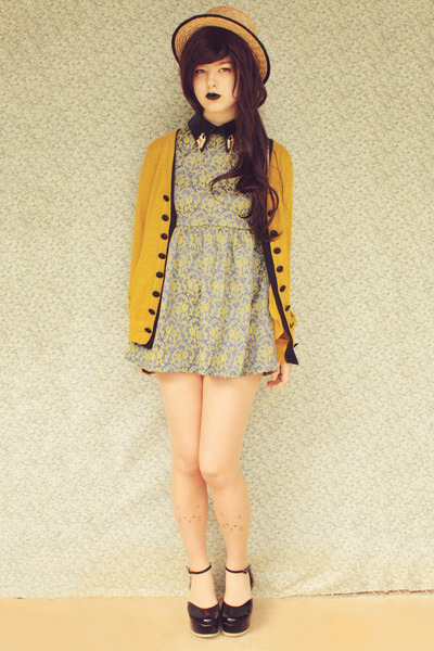 mustard modcloth cardigan - black Label Shoes shoes - lime green romwe dress