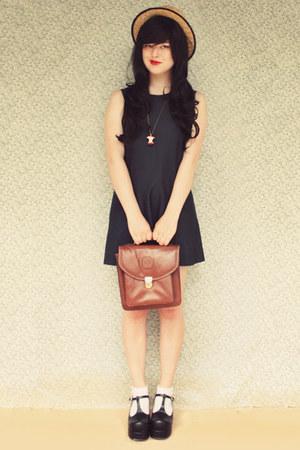 black Topb2c shoes - navy vintage dress - beige wholesale hat