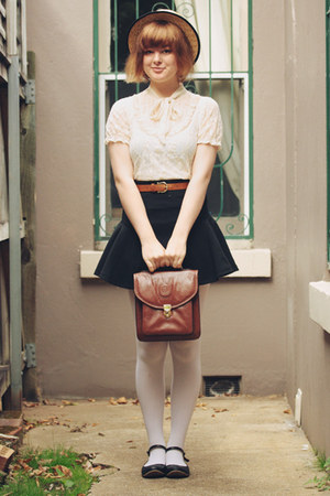 black cichic skirt - beige wholesale hat - white OASAP tights