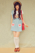 light blue DIY skirt - beige boater wholesale hat - red satchel Choies bag