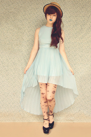 black Ebay tights - black Label Shoes shoes - light blue Glamorous UK dress