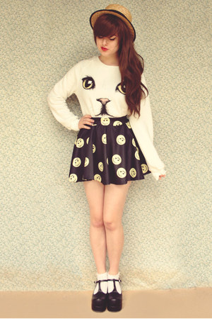 white romwe sweater - black Topb2c shoes - beige wholesale hat