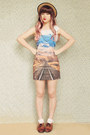 Sky-blue-photograph-romwe-dress-beige-boater-wholesale-hat