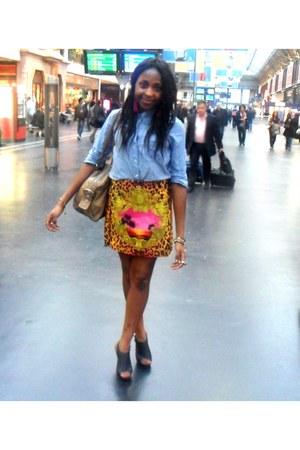 Versace for H&M skirt - blue denim Bershka shirt - sandals Minelli heels