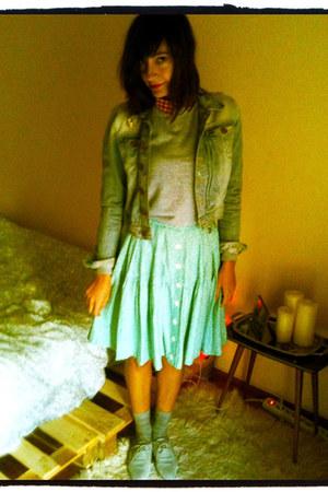 aquamarine buttoned skirt vintage skirt - sky blue jean jacket H&M jacket