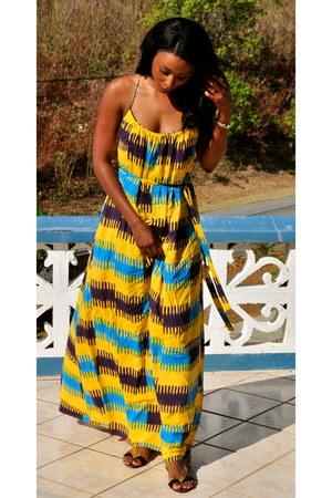 yellow thakoon dress - black Zara sandals