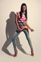 zara jeans - bershka t-shirt - zara sandals