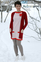 red Zara dress - ruby red Zara cardigan