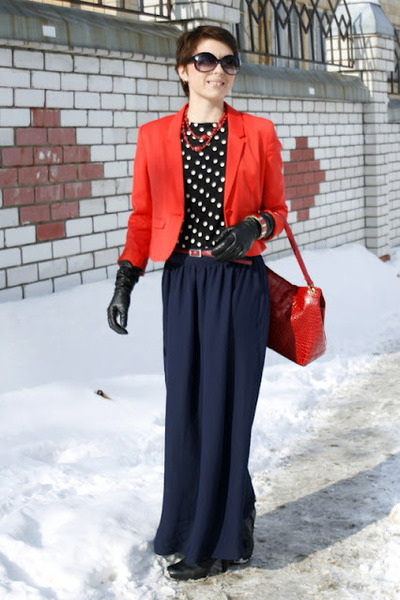 navy long skirt new look skirt - red short H&M jacket - black Zara blouse