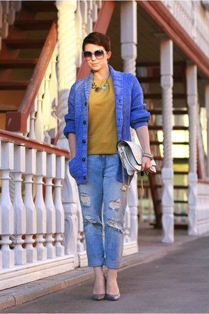 blue H&M cardigan - sky blue Zara jeans