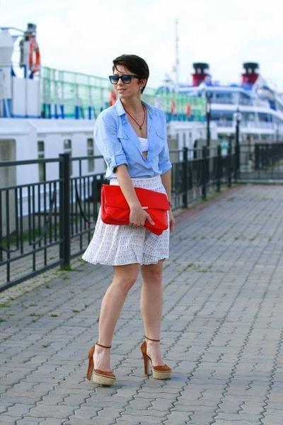 sky blue reserved shirt - red Zara bag - off white Zara skirt - camel Zara heels