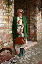 white Zarina Babadzhanova dress - forest green Zara coat