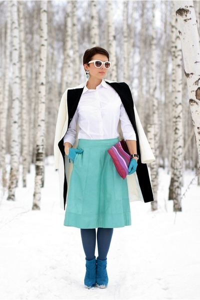white Tatuum shirt - amethyst Prada bag - aquamarine asos skirt