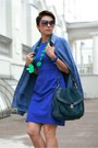 Blue-incity-dress-blue-h-m-cardigan-green-zara-heels