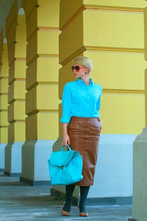 brown asoscom skirt - sky blue soliver shirt