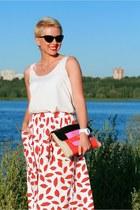 white asos skirt - hot pink dvf bag - white lindex top