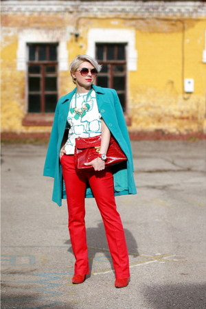 red Zara boots - turquoise blue kira plastinina coat - red Mango pants