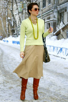 brown leather Zara boots - lime green cotton Promod sweater - camel Zara skirt
