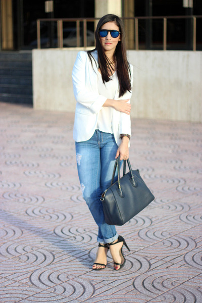 white Sheinsidecom blazer - light blue Gap jeans - blue Ebay sunglasses
