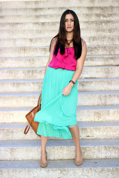 aquamarine Sheinside skirt - bronze Zara bag - nude Forever21 pumps