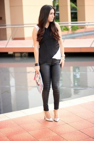 black Dicons pants - sky blue Local store bag - silver Shoedazzle pumps